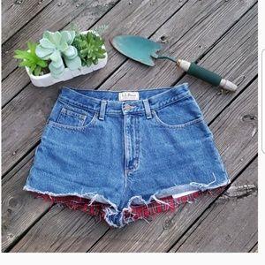 Vintage LL Bean Flannel Lined Denim HI Waist Short